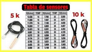 Tabla de sensores de 5k y 10k