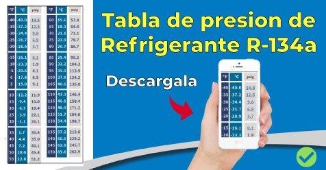Tabla presiones para REFRIGERANTE 134a