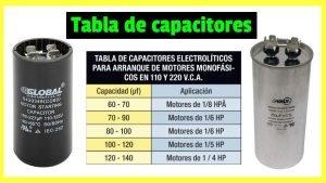 tabla de capacitores de arranque y marcha
