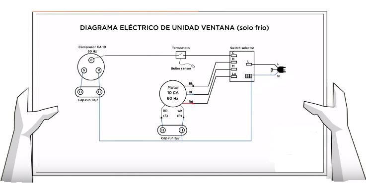 diagrama el u00e9ctrico de aire acondicionado de ventana 220v